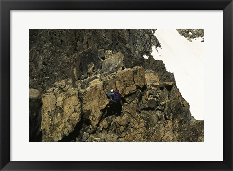 Framed High angle view of a person mountain climbing, Ansel Adams Wilderness, California, USA Print