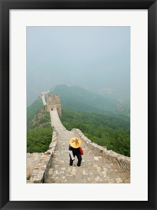 Framed Tourist climbing up steps on a wall, Great Wall of China, Beijing, China Print