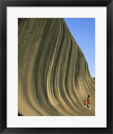 Framed Person climbing Wave Rock, Western Australia, Australia Print