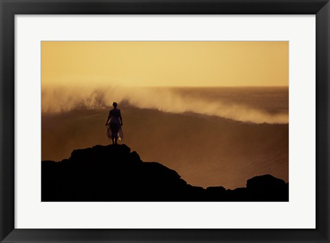 Framed Man on top of a Summit Print
