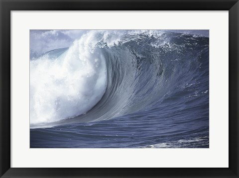 Framed Close-up of waves in the sea crashing Print
