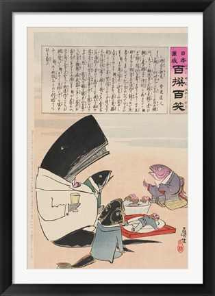 Framed whale and three fish sitting down to a formal dinner of Russian sailors Print