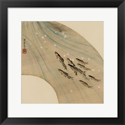 Framed Fan-shaped drawing of fish swimming upstream Print