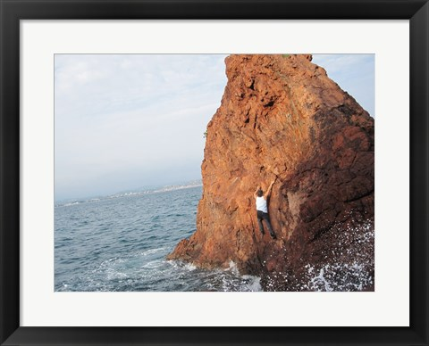 Framed Deep Water Solo on a small rock at Point de l'Aiguille Print