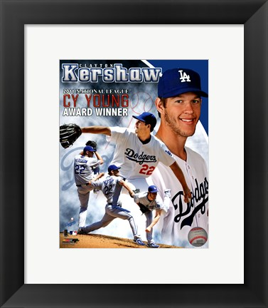 Framed Clayton Kershaw 2011 NL Cy Young Winner Portrait Plus Print