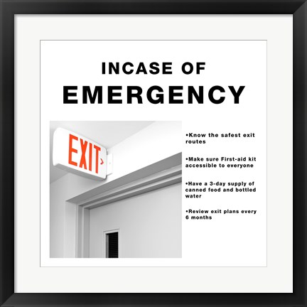 Framed In Case Of Emergency Print