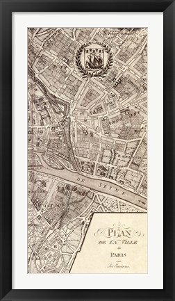 Framed Plan de la Ville de Paris, 1715 (R) Print