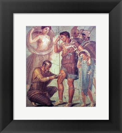 Framed doctor Japyx heals Aeneas, sided by aphrodite mural from Pompeii Print