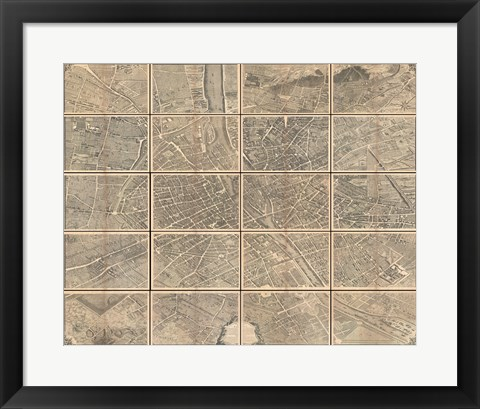 Framed 1739 Bretez - Turgot View and Map of Paris, France Print