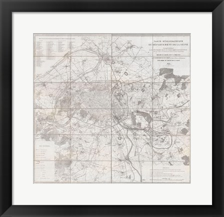 Framed 1852 Andriveau Goujon Map of Paris and Environs, France Print