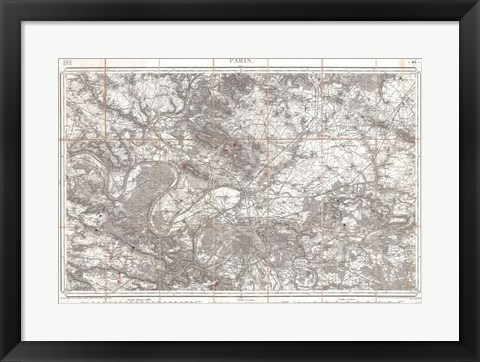 Framed 1852 Depot de Guerre Map of Paris and its Environs, France Print