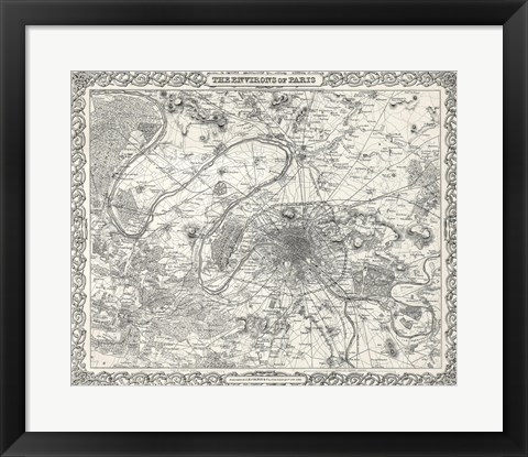 Framed 1855 City Plan of Paris, France Print