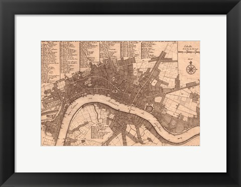 Framed Nicolas de fer 1700 London Print