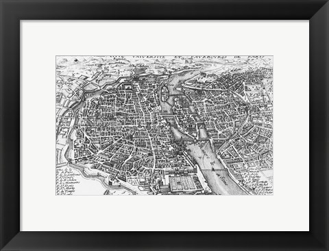 Framed Paris bird's eye view 17th century Print