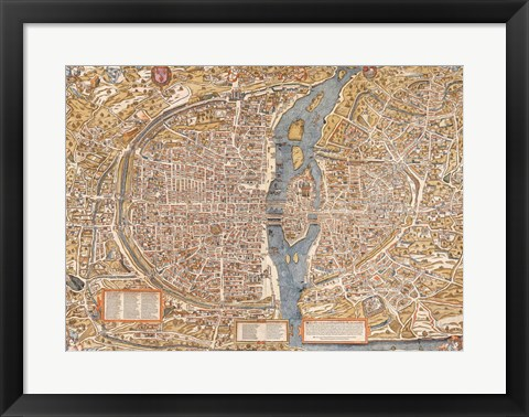 Framed Plan de Paris map Print