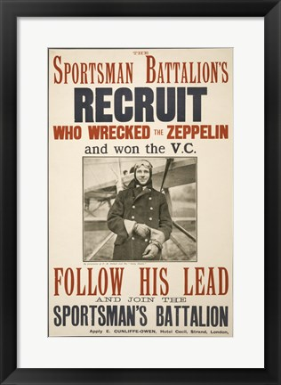 Framed Sportsman Battalion's Recruit Poster Print