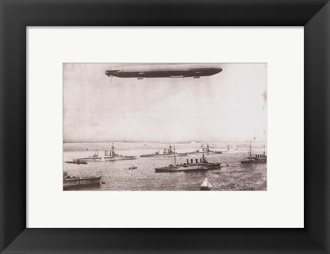 Framed Zeppelin - B&W in the air Print
