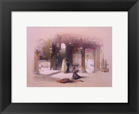 Framed Shrine of the Nativity Bethlehem April 6th 1839 Print
