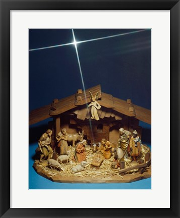 Framed Close-up of figurines depicting a nativity scene Print