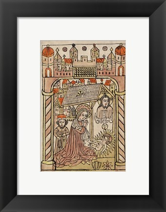 Framed Nativity Scene with Depiction of Trinity Print