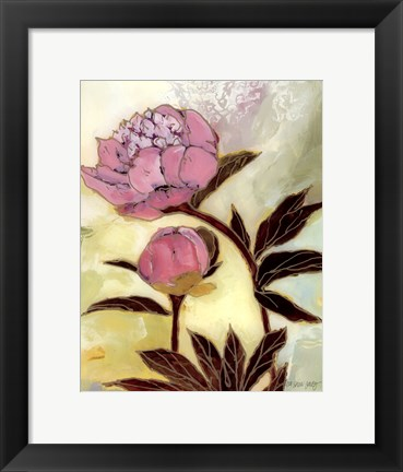 Framed Pink Peony Blossom and Bud Print