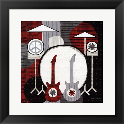 Framed Rock n' Roll Drums Print