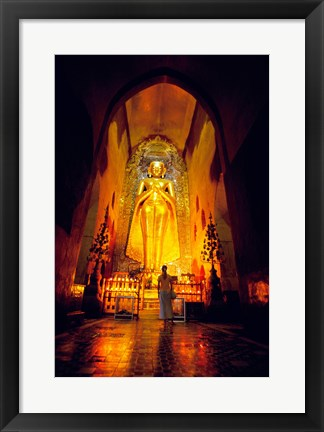 Framed Low angle view of a statue of Buddha, Ananda Temple, Bagan, Myanmar Print