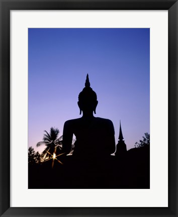 Framed Silhouette of Buddha and temple during sunset, Sukhothai, Thailand Print