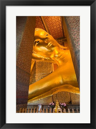 Framed Statue of reclining Buddha in a Temple, Bangkok, Thailand Print
