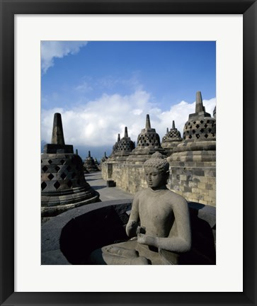 Framed Buddha statue in front of a temple, Borobudur Temple, Java, Indonesia Print