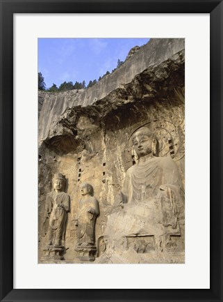 Framed Buddha Statue Carved on a wall, Longmen Caves, Luoyang, China Print
