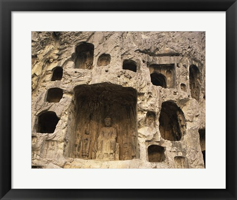 Framed Buddha Statue Carved on a wall, Longmen Caves in China Print