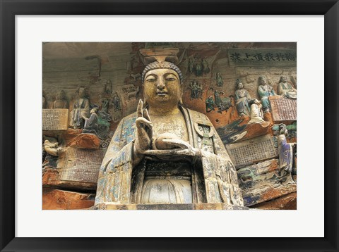 Framed Buddhist Cliff Sculptures, Dazu, China Print