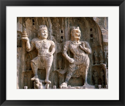 Framed Bodhisattva and Guardian Statues, Luoyang, China Print