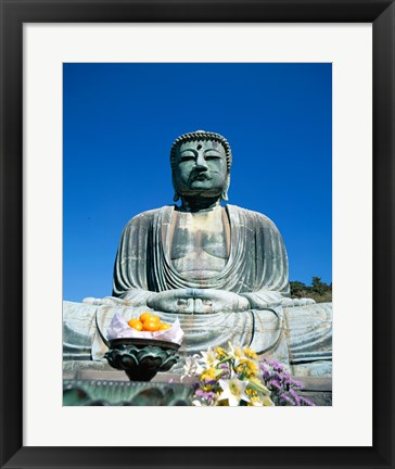 Framed Daibutsu Great Buddha, Kamakura, Honshu, Japan With Flowers Print