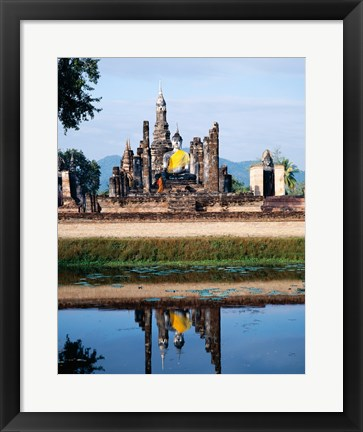 Framed Silhouette of the Seated Buddha Reflected, Wat Mahathat, Sukhothai, Thailand Print