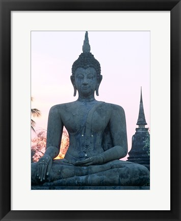 Framed Front view of the Seated Buddha, Wat Mahathat, Sukhothai, Thailand Print