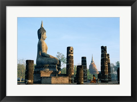 Framed Side profile of the Seated Buddha, Wat Mahathat, Sukhothai, Thailand Print