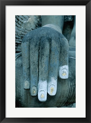 Framed Hands of a giant statue of Buddha, Wat Si Chum, Sukhothai, Thailand Print