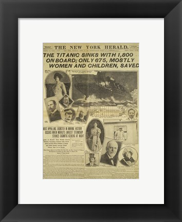 Framed New York Herald front page about the Titanic Disaster Print