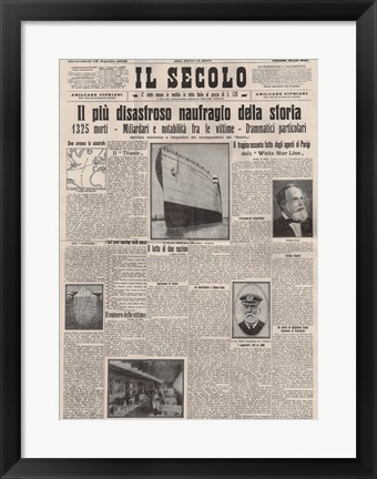 Framed Italian Front Page about the Titanic Disaster Print
