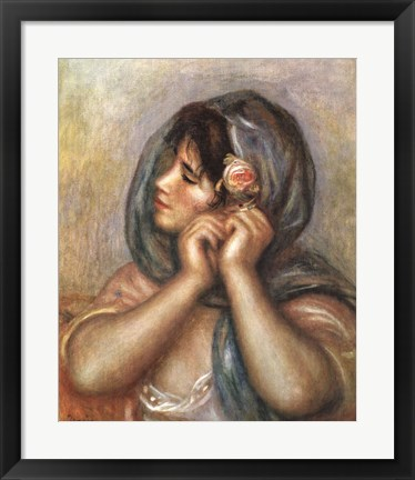 Framed Young Girl Arranging Her Earrings Print