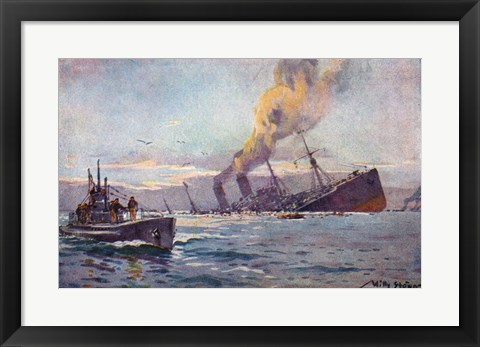 Framed U-boat Sinking a Troop Transport Ship Print