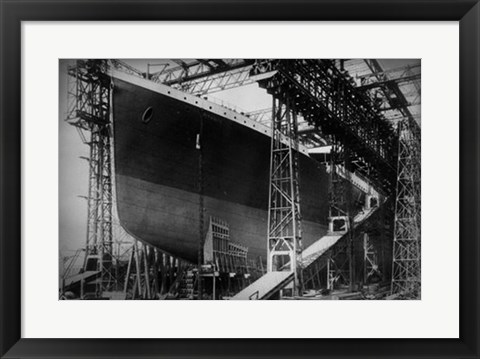 Framed Titanic Constructed at the Harland and Wolff Shipyard in Belfast Before Sail Print