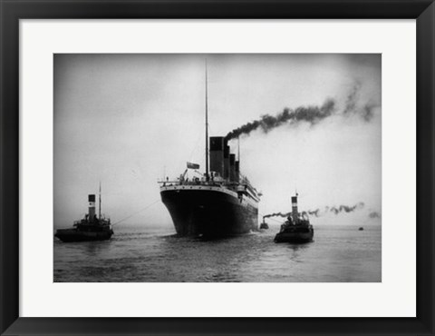 Framed Titanic with Tugboats Print