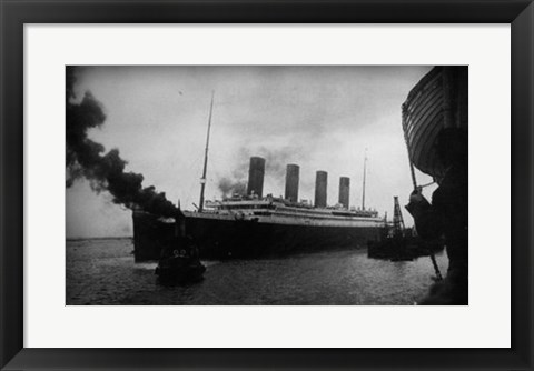 Framed Titanic Leaving Harbor Print