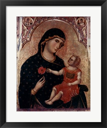 Framed Madonna Holding Rose with Child Print