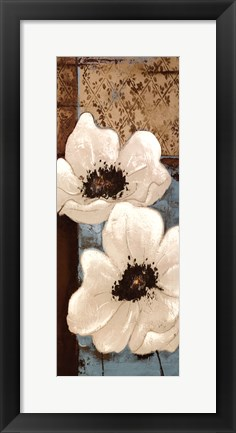 Framed White Poppies Panel I Print