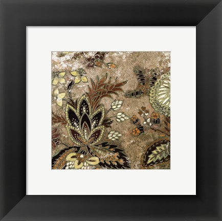 Framed European Floral on Beige I Print