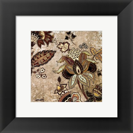Framed European Floral On Beige II Print